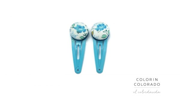 Mini Hair Clips with Light Blue Rose on White