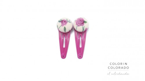 Mini Hair Clips with Pink Flowers on White