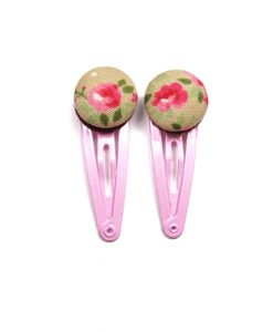 Mini Hair Clips with Pink Rose White Dots on Grey