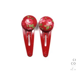 Mini Hair Clips with Pink Rose White Dots on Red A