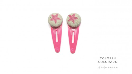 Mini Hair Clips with Pink Star Glitter on White