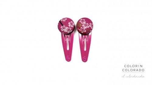 Mini Hair Clips with Pink White Japanese Flower on Pink