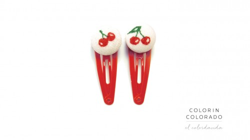 Mini Hair Clips with Red Cherries on White
