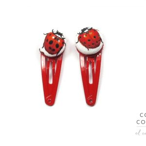 Mini Hair Clips with Red Ladybug on White