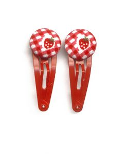 Mini Hair Clips with Strawberry on Red Gingham