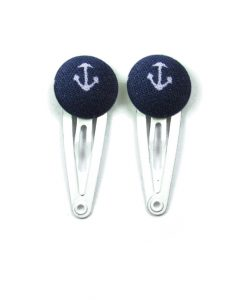 Mini Hair Clips with White Boat Anchor on Dark Blue
