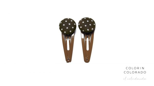 Mini Hair Clips with White Dots on Brown