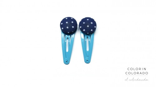Mini Hair Clips with White Dots on Dark Blue