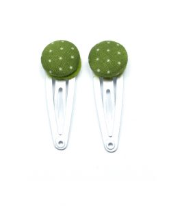 Mini Hair Clips with White Dots on Green