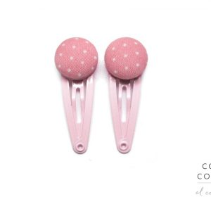Mini Hair Clips with White Dots on Light Pink