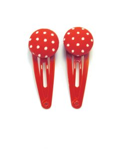 Mini Hair Clips with White Dots on Red
