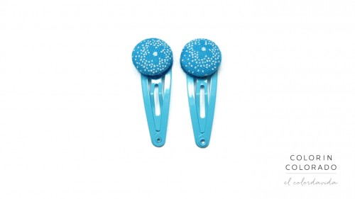 Mini Hair Clips with White Flower on Sky Blue