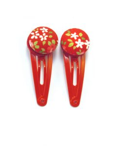Mini Hair Clips with White Flowers on Red