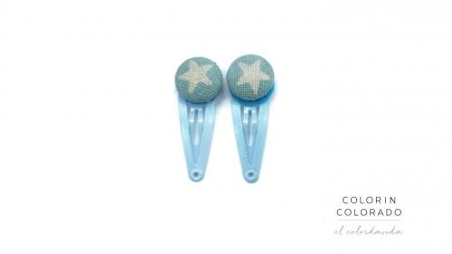 Mini Hair Clips with White Glitter Stars on Light Blue
