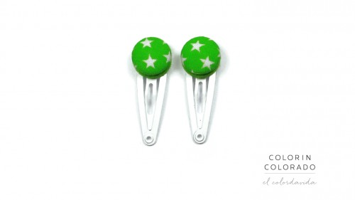 Mini Hair Clips with White Stars on Green