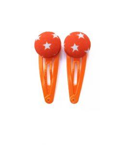 Mini Hair Clips with White Stars on Orange