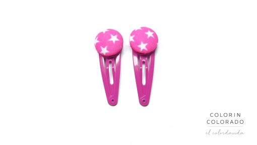 Mini Hair Clips with White Stars on Pink