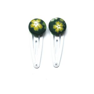 Mini Hair Clips with Yellow White Japanese Flower on Dark Green