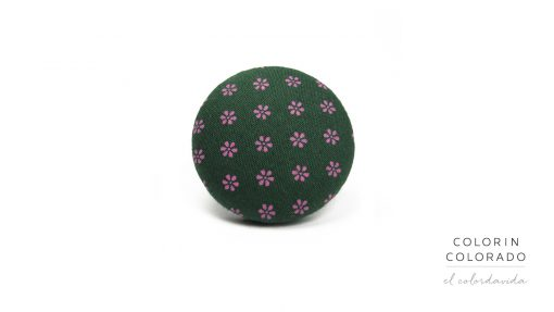 Ring with Pink Flower on Dark Green