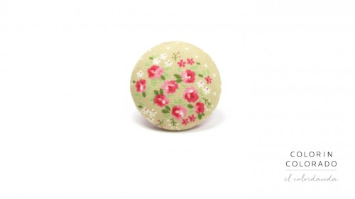 Ring with Pink Rose White Dots on Grey