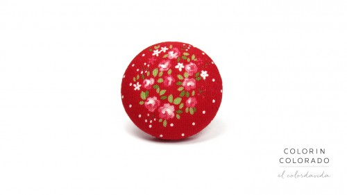 Ring with Pink Rose White Dots on Red A