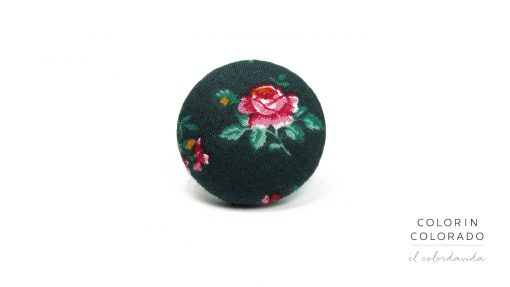 Ring with Pink Rose on Dark Green