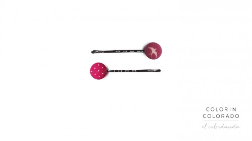 Set of 2 Pins with Birds on Pink and White Dots on Pink