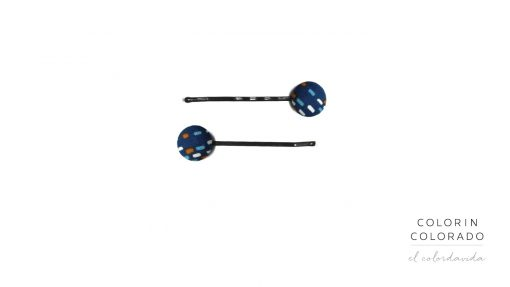 Set of 2 Pins with Colored Dots on Dark Blue