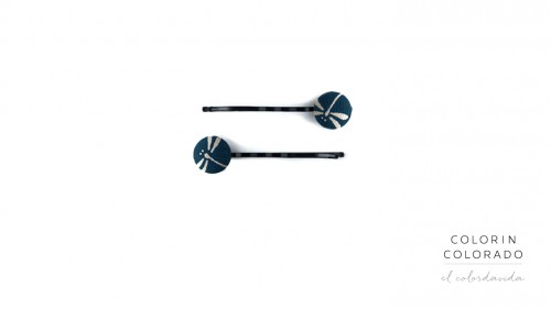 Set of 2 Pins with Grey Dragonfly on Dark Blue