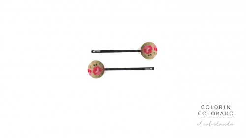 Set of 2 Pins with Pink Rose White Dots on Grey