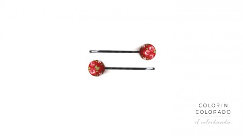 Set of 2 Pins with Pink Rose White Dots on Red B