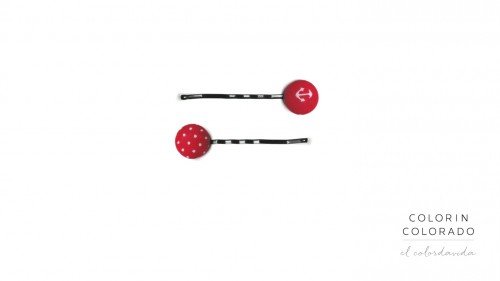 Set of 2 Pins with White Boat Anchor on Red B