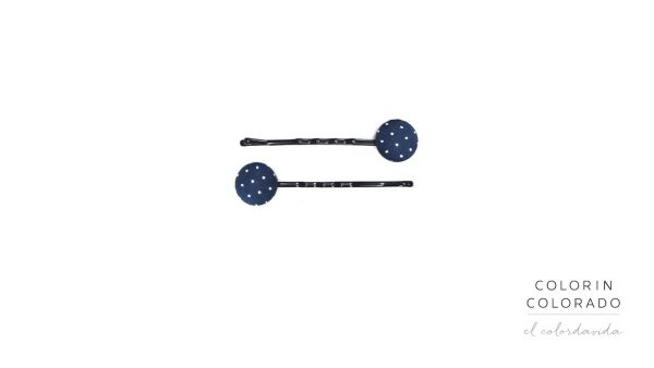 Set of 2 Pins with White Dots on Dark Blue