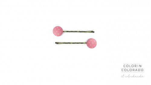 Set of 2 Pins with White Dots on Light Pink