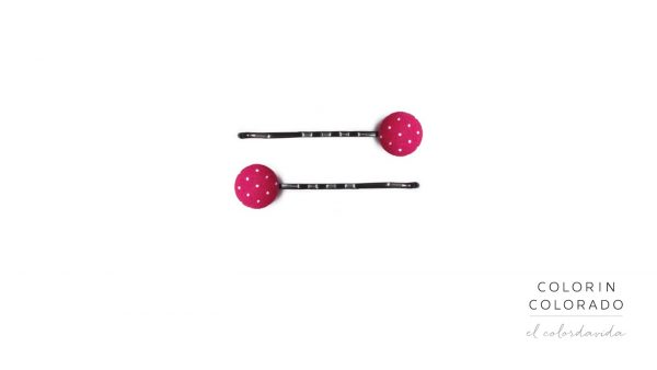 Set of 2 Pins with White Dots on Pink