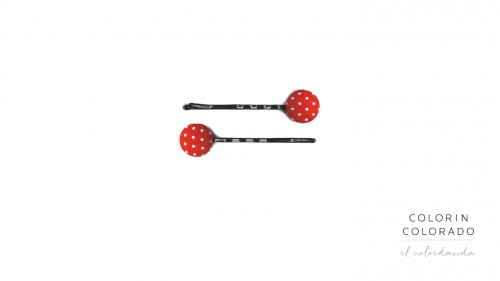 Set of 2 Pins with White Dots on Red