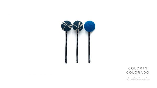 Set of 3 Pins with Grey Dragonfly on Dark Blue