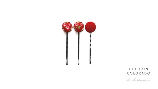 Set of 3 Pins with Pink Rose White Dots on Red B