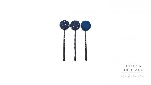 Set of 3 Pins with White Dots on Dark Blue
