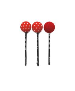 Set of 3 Pins with White Dots on Red
