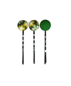 Set of 3 Pins with Yellow White Japanese Flower on Dark Green