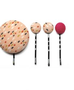 Set of 4 Pins with Colored Dots on Light Pink