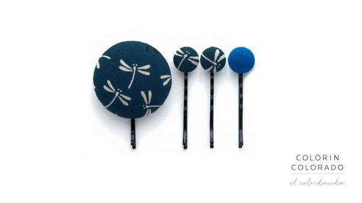 Set of 4 Pins with Grey Dragonfly on Dark Blue