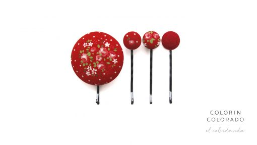 Set of 4 Pins with Pink Rose White Dots on Red A