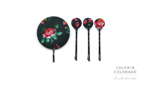 Set of 4 Pins with Pink Rose on Dark Green