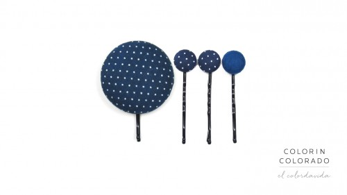 Set of 4 Pins with White Dots on Dark Blue