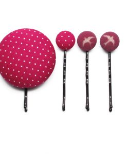 Set of 4 Pins with White Dots on Pink