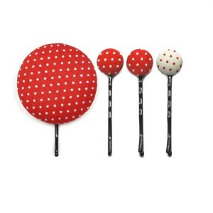 Set of 4 Pins with White Dots on Red