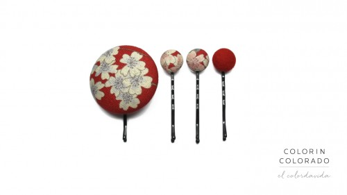 Set of 4 Pins with White Japanese Flowers on Red