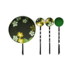 Set of 4 Pins with Yellow White Japanese Flower on Dark Green
